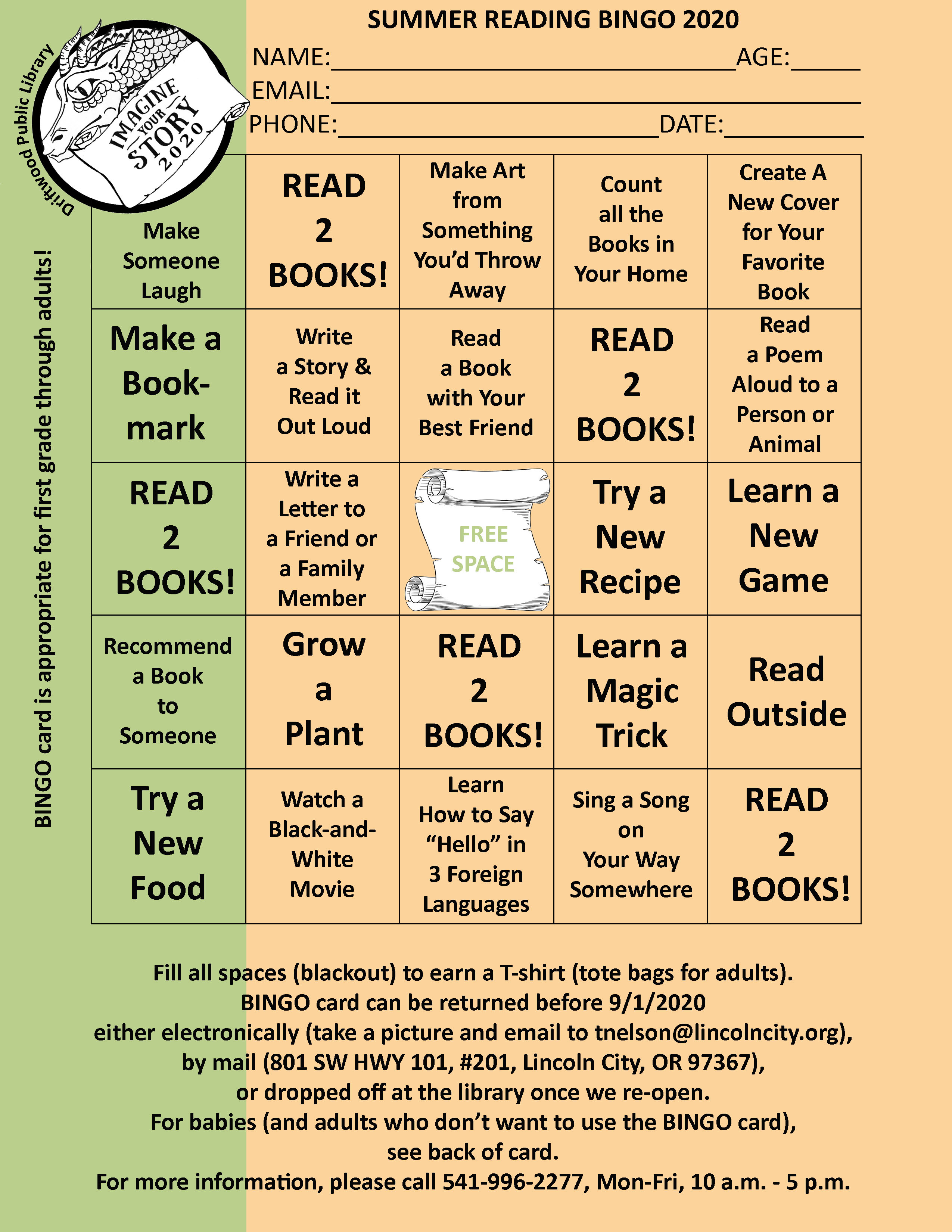 Summer Reading 2020 Bingo Card Front Side